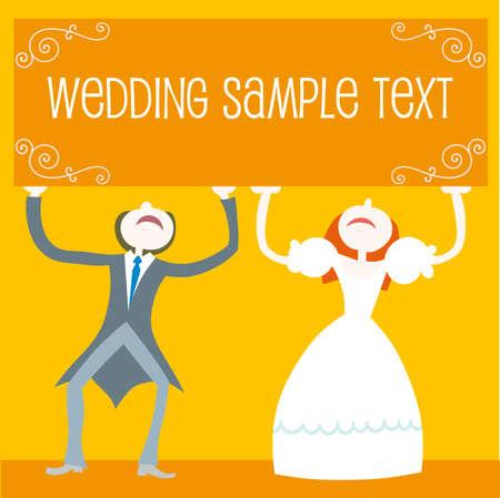 hand holding card: Afbeelding: bruiloft set - paar staande