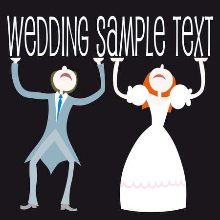 woman holding card: Illustration: wedding set - couple standing