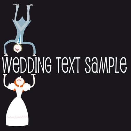 bridal veil: Illustration: wedding set - couple standing