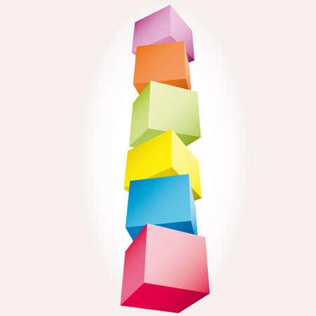 scatter: 3d composition of cubes illustration