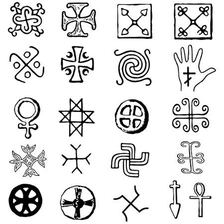 Set Crosses . various religious symbols Vector