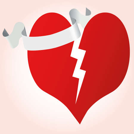Heart with ribbon  illustration. Valentine day. Vector