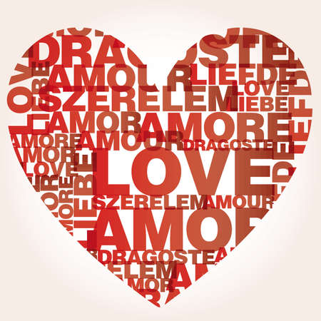 Valentine heart from sweet love words Vector