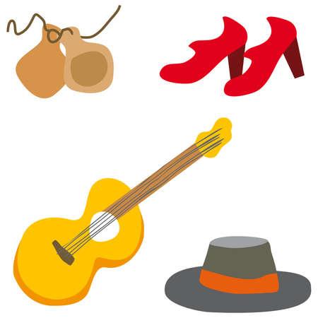 castanets: Flamenco guitarist vector typical spahish illustration cartoon