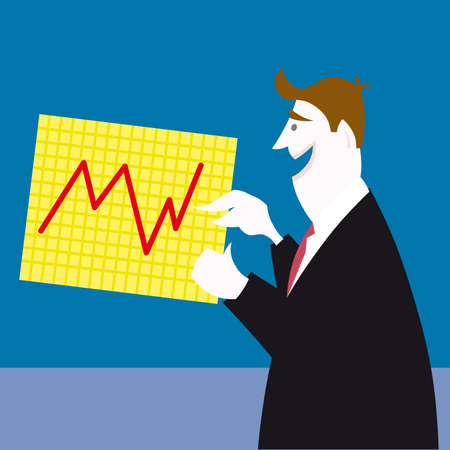 businessman standing pointing at chart  Stock Vector - 7611089