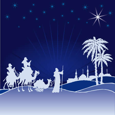 morning walk: Classic three magic scene and shining star of Bethlehem. Illustration