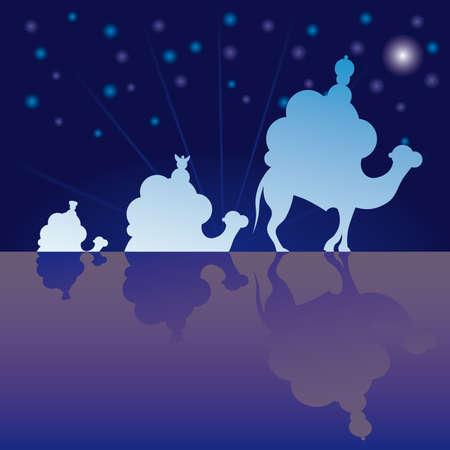 Classic three magic scene and shining star of Bethlehem. Stock Vector - 7611086