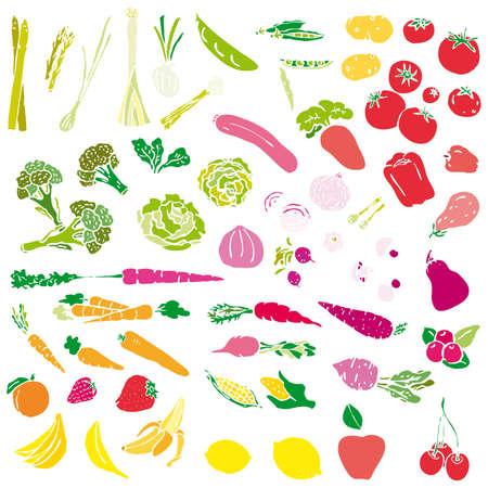 mandarin orange: Various Fruits and Vegetables   Illustration