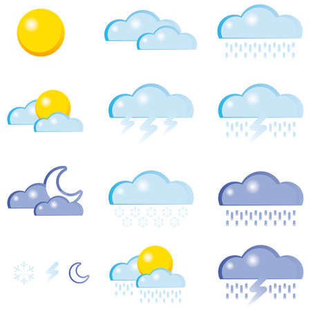 Set of a weather icon Stock Vector - 7696421