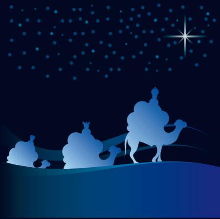 Classic three magic scene and shining star of Bethlehem. Stock Vector - 7696412