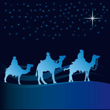 Classic three magic scene and shining star of Bethlehem. Vector