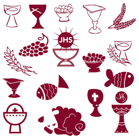 Set of Illustration of a communion depicting traditional Christian symbols including candle (light), chalice, grapes (wine), ear, cross and bread Stock Vector - 8082657