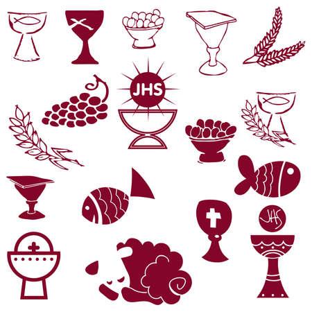 Set van illustratie van een communie beeltenis van traditionele christelijke symbolen kaars (licht), en kelk, druiven (wijn), oor, cross brood Vector Illustratie