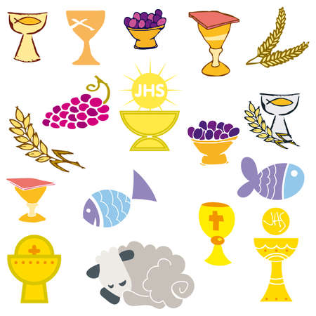 eucharistie: Jeu de l'illustration d'une communion traditionnelle repr�sentant les symboles chr�tiens, y compris bougie (lumi�re), le calice, le raisin (vin), les oreilles, croix et du pain