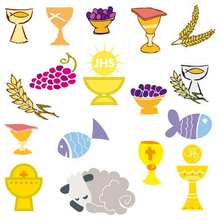 pane e vino: Set di illustrazione di una comunione che raffigurano simboli cristiani tradizionali, comprese la candela (luce), calice, uva (vino), orecchio, Croce e pane Vettoriali