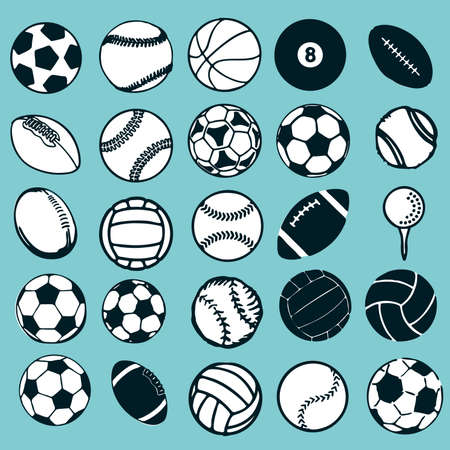 air sport: Set Ball sports icons symbols comic vector illustration