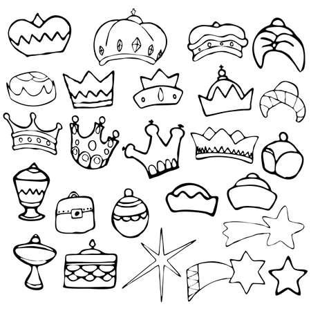 reyes magos: Tres Reyes Magos Navidad establecer ilustraci�n vectorial