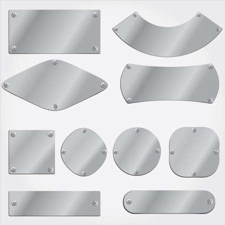metal plates set, grouped objects, fully editable photo