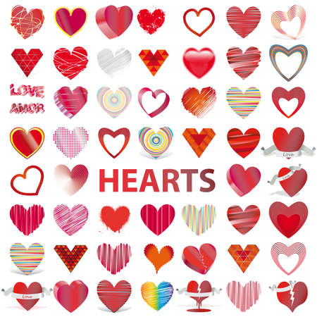 53 icons set HEARTS vector illustration Valentine's day Stock Illustration - 8658103