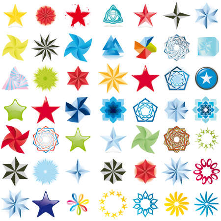 fondos: Collection of stars abstract symbols Stock Photo