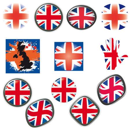 British Flag symbols icons Buttons illustration UK  illustration