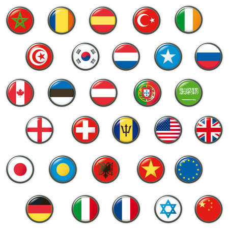 korea: Set of world flags.  Stock Photo