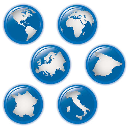 collection of earth globes icons and Italy, Spain, France and Europe, illustration. Vector format Stock Illustration - 8716711