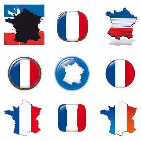 French symbols and icons. Vector collection. photo