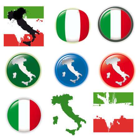 Italy vector set, flags and icons isolated on white background. photo