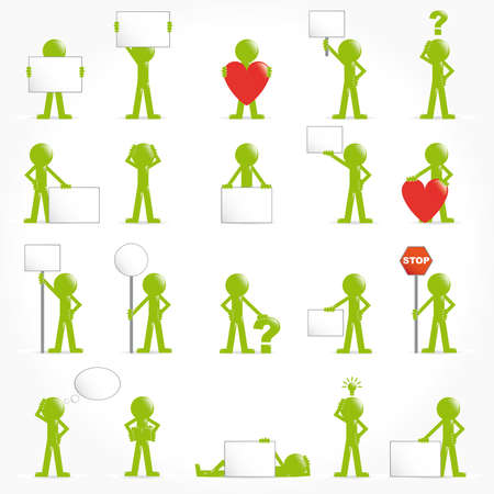 bubble people: People vector 3D icon set concept arrows illustration