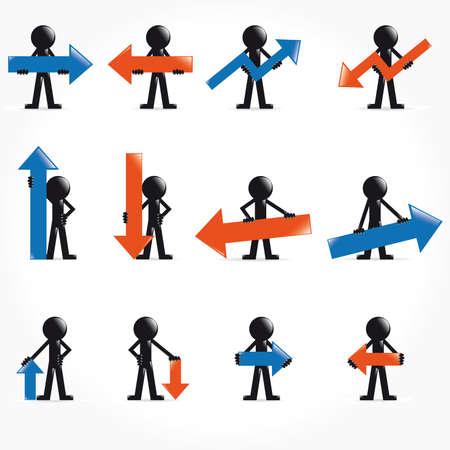 People vector 3D icon set concept arrows illustration Stock Illustration - 9555941