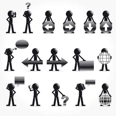 omini bianchi: Set di uomo 3d con le frecce e il concetto