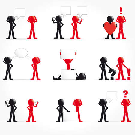 Set of 3d man with concept Vector