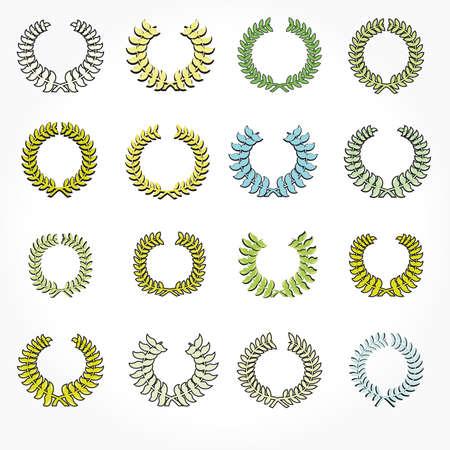 Set of crown laurel wreaths. Vector