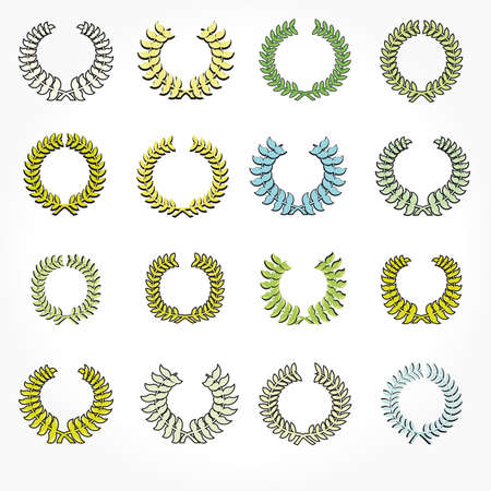 laurel leaf: Set of crown laurel wreaths.