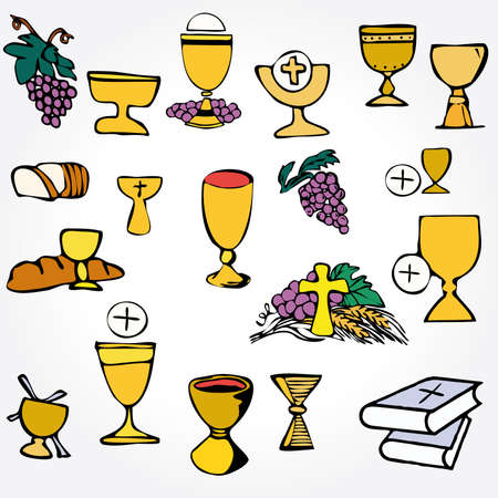 pane e vino: Set di Illustrazione di una comunione che raffigura tradizionali simboli cristiani tra cui candele (la luce), calice, uva (vino), orecchio, croce e pane Vettoriali