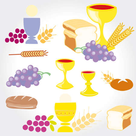 Set of Illustration of a communion depicting traditional Christian symbols including candle (light), chalice, grapes (wine), ear, cross and bread Stock Vector - 9664045