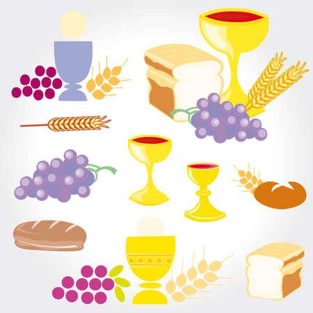Illustratie van een beeltenis van traditionele christelijke symbolen met inbegrip van kaars (licht), kelk, druiven (wijn), brood, kruis en oor communie set