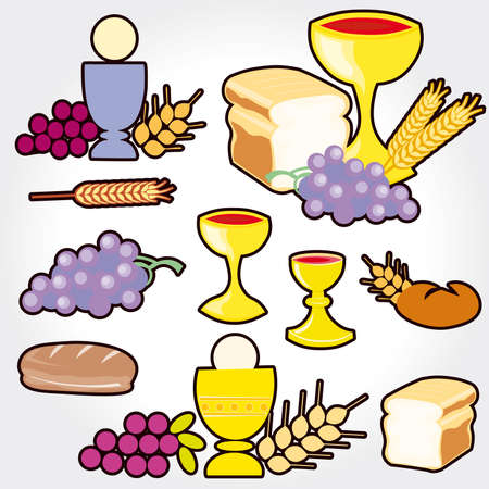 Set of Illustration of a communion depicting traditional Christian symbols including candle (light), chalice, grapes (wine), ear, cross and bread Stock Vector - 9664047