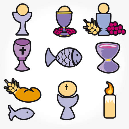 pane e vino: Set di illustrazione di una comunione che raffigurano simboli cristiani tradizionali, tra cui la candela (luce), calice, uva (vino), orecchio, Croce e pane