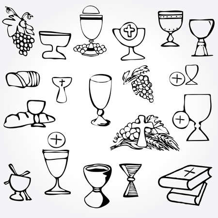 bread and wine: Set of Illustration of a communion depicting traditional Christian symbols including candle (light), chalice, grapes (wine), ear, cross and bread