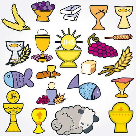 santa cena: Conjunto de ilustraci�n de una comuni�n que representan los s�mbolos cristianos tradicionales incluida la vela (luz), c�liz, uvas (vino), o�do, Cruz y pan Foto de archivo