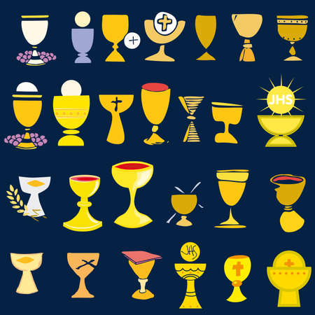 Set of Illustration of a communion depicting traditional Christian symbols including  chalice illustration