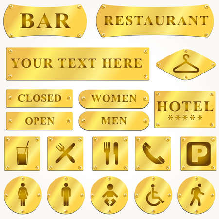 Vector Old golden and signboards with text and symbols