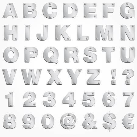 graffiti alphabet: Alphabet Silber Brief Vektor Metall singboard Illustration