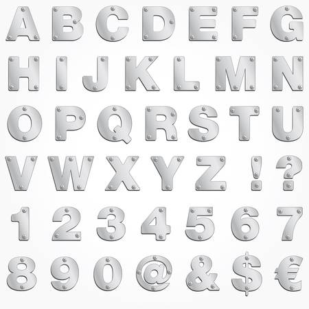 chrome alphabet: Alphabet silver letter vector metal singboard