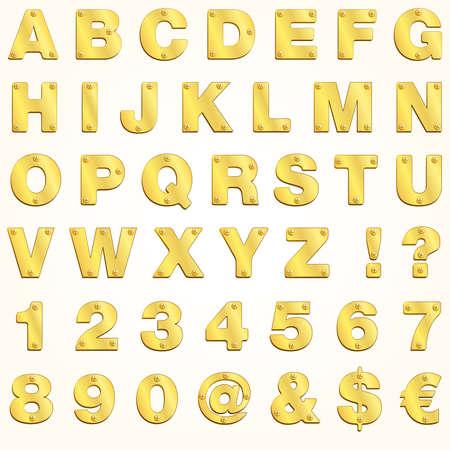 graffiti alphabet: Alphabet gold golden Buchstaben Vektor Metall singboard Illustration