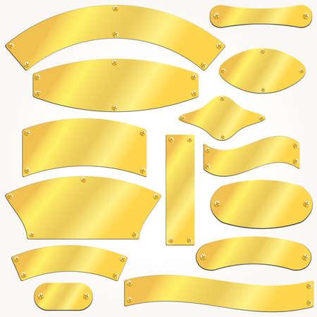 placa bacteriana: Vector de Oro placas viejas Vectores
