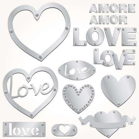 Plate LOVE silver heart vector illustration Stock Vector - 9892711