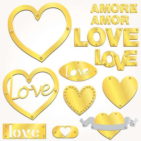 Corazón de oro de amor dorado de placa Ilustración de vector